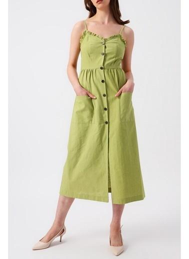 Random Kadın Eteği Çift Cepli V Yakalı Askılı Midi Elbise Yeşil